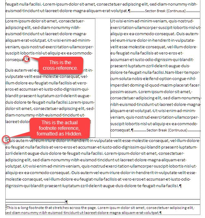 Footnotes Spanning Columns