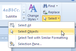 Select Objects tool in Word 2007 and above