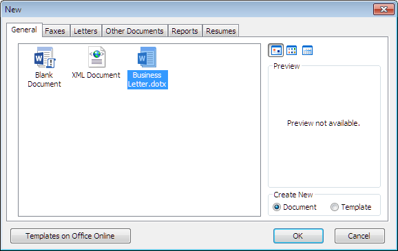 How to create a template new dialog in word 2007 showing business letter spiritdancerdesigns Images