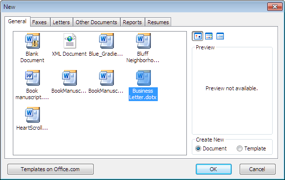 word 2010 new dialog showing business letter template