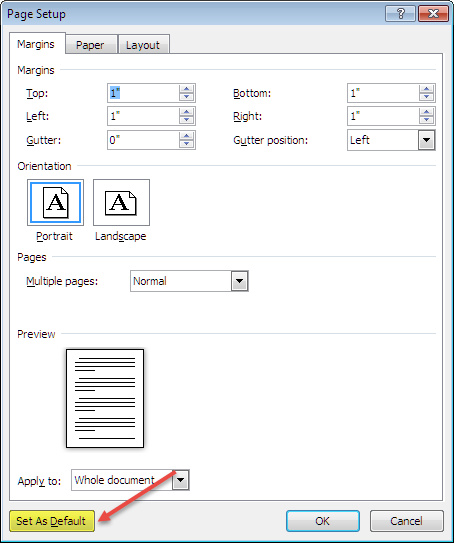 how to set arial as default font in word 2010