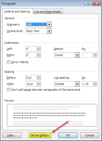 set the default font in word 2010