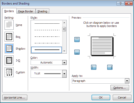 Using borders in word 2007 and above shadow border ccuart Image collections