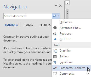 Navigation pane showing Find objects